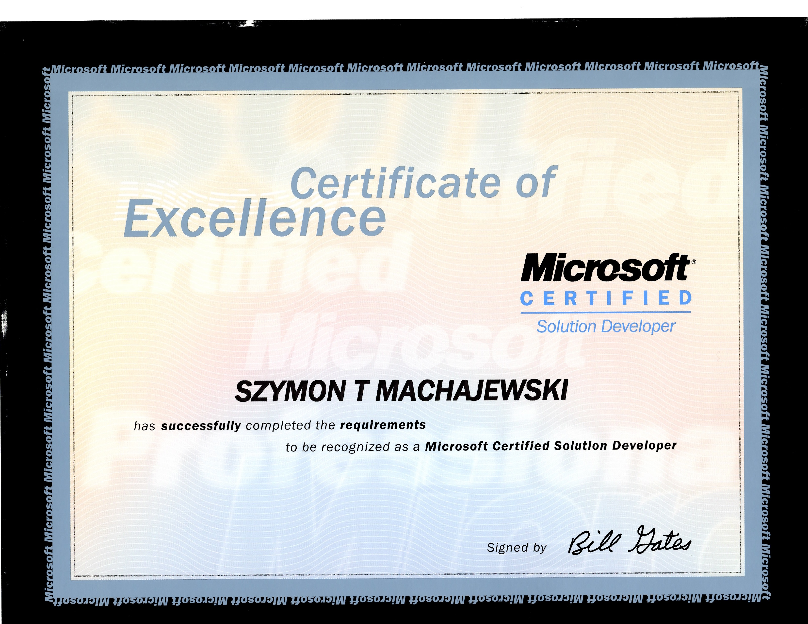 About microsoft certificate of excellence mcsd signed by bill gates 1betcityfo Gallery